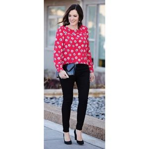 J Crew Factory Red Longfellow Floral Blouse